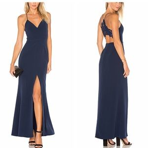 Lovers + friends Helena gown maxi navy dress new